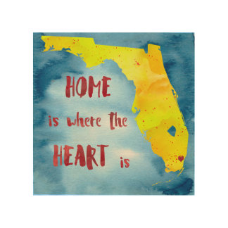 Home is Where the Heart is: Miami Wood Wall Art Wood Prints