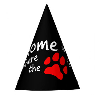 Home is where the paw print is Black Party Hat