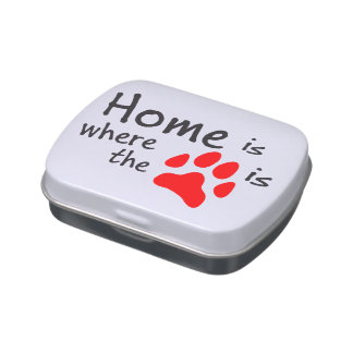 Home is where the paw print is candy tin