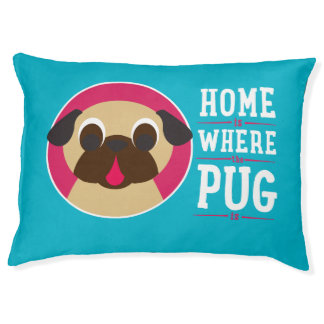 Home Is Where The Pug Is Fawn Pug on Blue Dog Bed