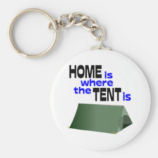 Home Is Where The Tent Is Basic Round Button Key Ring