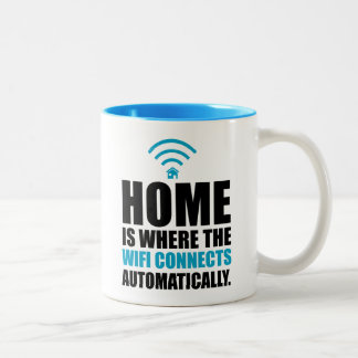 Home is Where the Wi-Fi Connects Automatically Two-Tone Coffee Mug
