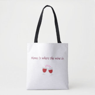 Home is where the wine is tote bag