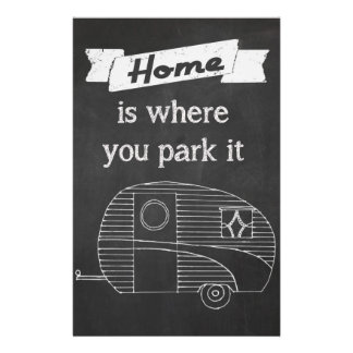 Home is where you park it - vintage trailer image 14 cm x 21.5 cm flyer