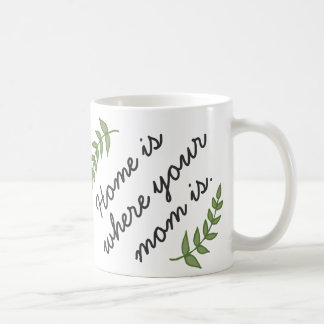 Home is where your mom is mother's day gift modern basic white mug