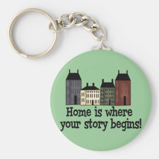 Home Is Where Your Story Begins! Basic Round Button Key Ring