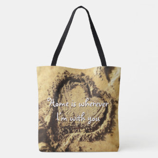 """""""Home is wherever"""" quote heart drawn in sand photo Tote Bag"""