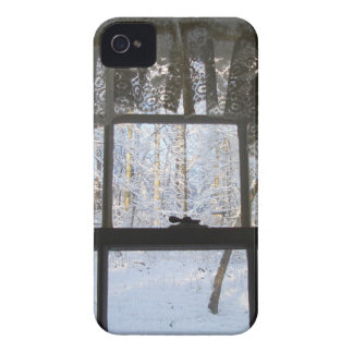 Home Lacy Window Snowy Scene Holidays iPhone 4 Case-Mate Case