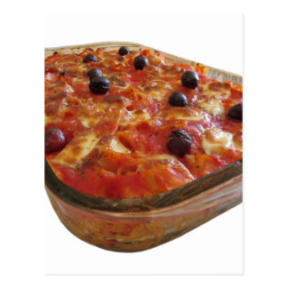 Home made baked pasta on white background postcard