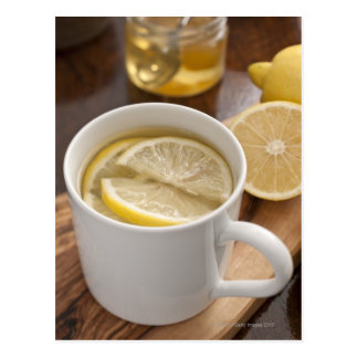 home made cold and flu remedy; lemons and honey postcard