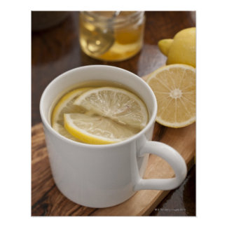 home made cold and flu remedy; lemons and honey poster