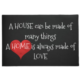 Home made of Love Quote Typography Black Red Heart Doormat
