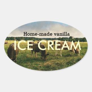 Home made vanilla ICE CREAM Oval Sticker