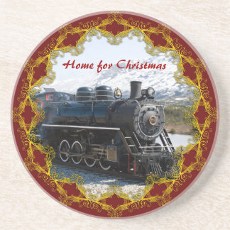 Home on the Train for Christmas Coasters