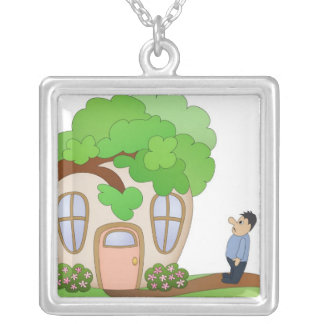 Home Owner Disaster Day Square Pendant Necklace