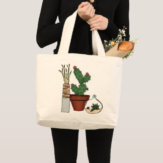 Home Potted Plants Doodle Art Large Tote Bag