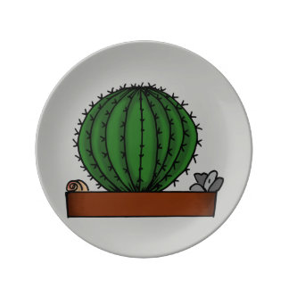 Home Potted Plants Doodle Art Plate