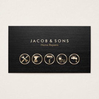 Home Repairs Gold Icons Brushed Metal Texture Business Card