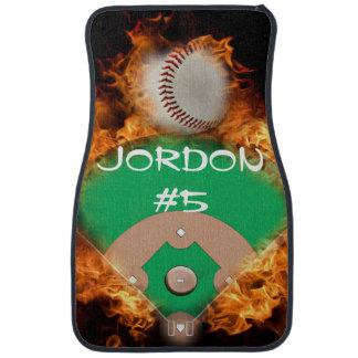 Home Run Baseball on fire Car Mat