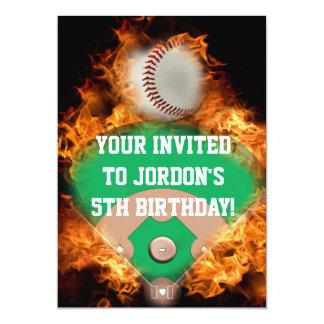 "Home Run Baseball on fire 5"" X 7"" Invitation Card"
