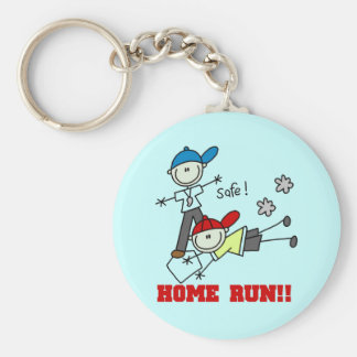 Home Run Boys Baseball Tshirts and Gifts Basic Round Button Key Ring
