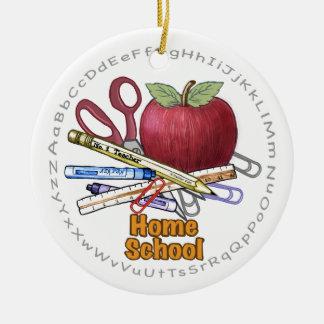 Home School round ceramic ornament