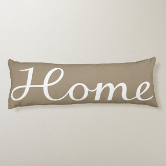 Home Script in White on Taupe Body Cushion