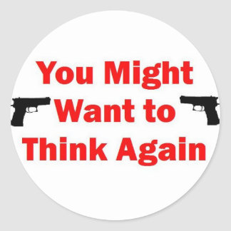 Home Security Gun Classic Round Sticker