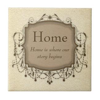 Home, Sentimental Message Chandelier Tile Plaque
