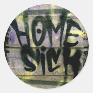 Home Sick Round Sticker