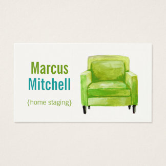 Home Staging Business Cards - horizontal - green