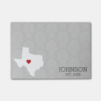 Home State Map Art - Custom Name Texas Post-it Notes