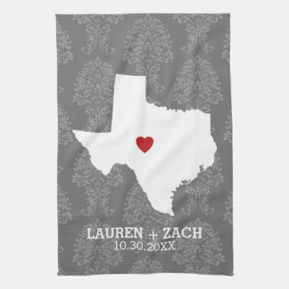 Home State Map Art - Custom Wedding Texas Kitchen Towels
