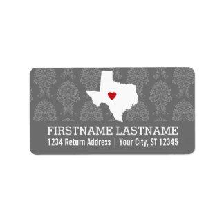Home State Map Art - Custom Wedding Texas Label
