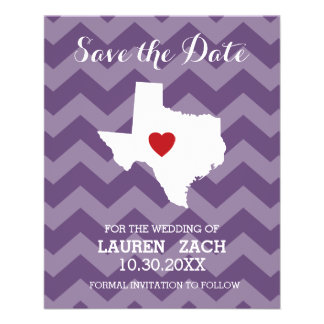 Home State Wedding Save the Date Texas 11.5 Cm X 14 Cm Flyer