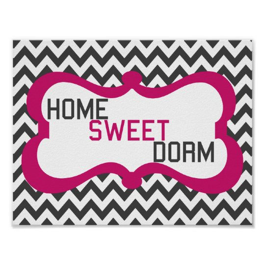 Home Sweet Dorm Grey & Pink Chevron Wall Art Print