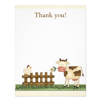 Home Sweet Farm Cow Thank you Card 4 25 x 5 5 Announcements