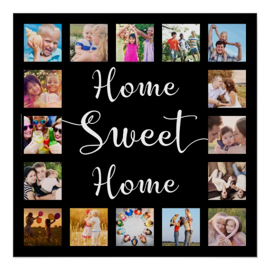 Home Sweet Home 14 Family Photo Collage Black