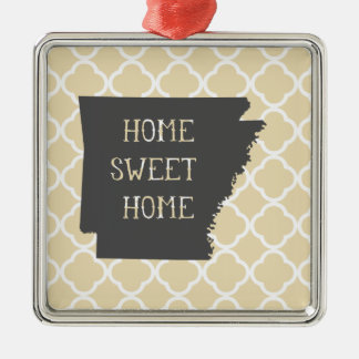 Home Sweet Home Arkansas Silver-Colored Square Decoration