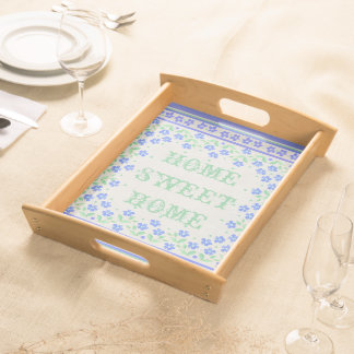 Home Sweet Home Blue Periwinkles Floral Faux Linen Serving Tray