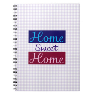 Home Sweet Home Blues, Red, Pink, Purple, Gingham Spiral Notebook