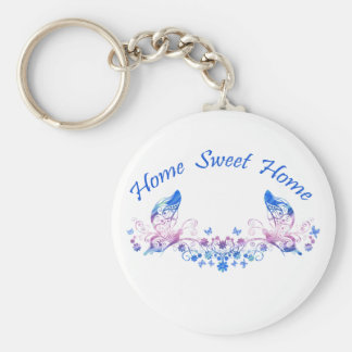 Home Sweet Home Butterfly Design Basic Round Button Key Ring