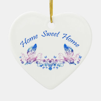 Home Sweet Home Butterfly Design Ceramic Heart Decoration