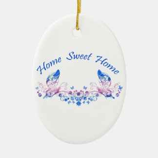 Home Sweet Home Butterfly Design Ceramic Oval Decoration