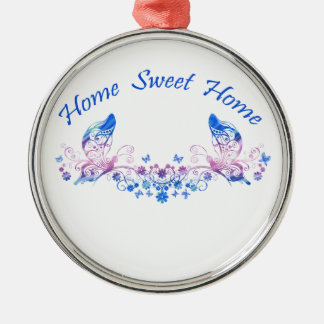 Home Sweet Home Butterfly Design Silver-Colored Round Decoration