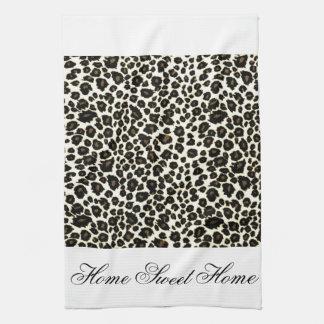 Home Sweet Home  Cheetah Print Tea Towel