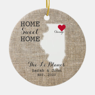 Home Sweet Home | Chicago Illinois Rustic Christmas Ornament