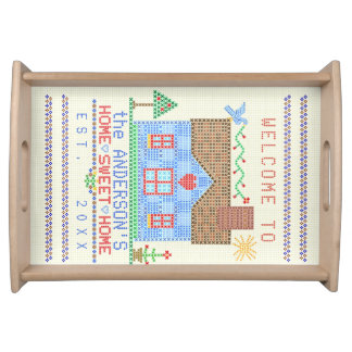 Home Sweet Home Cross Stitch House Country Custom Serving Tray