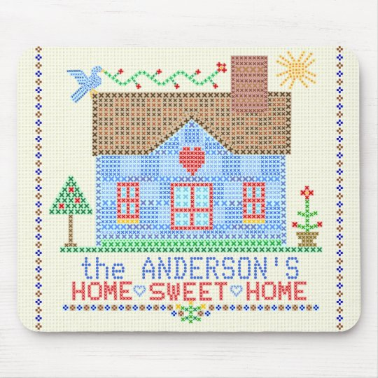 Home Sweet Home Cross Stitch House Personalised Mouse Mat