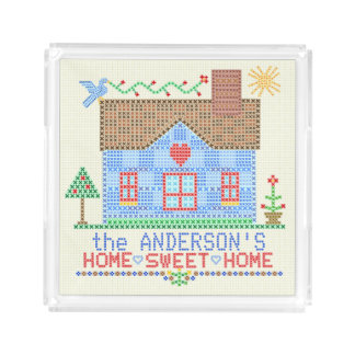 Home Sweet Home Cross Stitch House Personalized Acrylic Tray